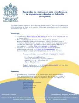 Requisitos de inscripción para transferencia de aspirantes
