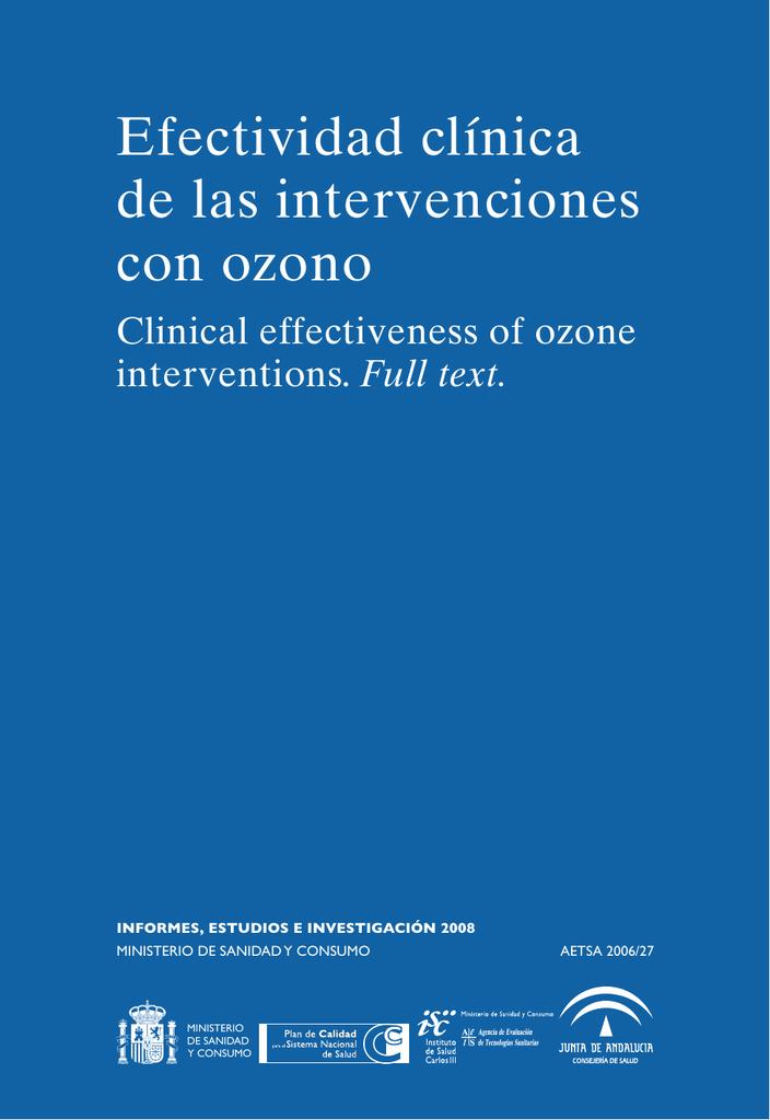 Resultado de imagen de Instituto de Salud Carlos III ozonoterapia