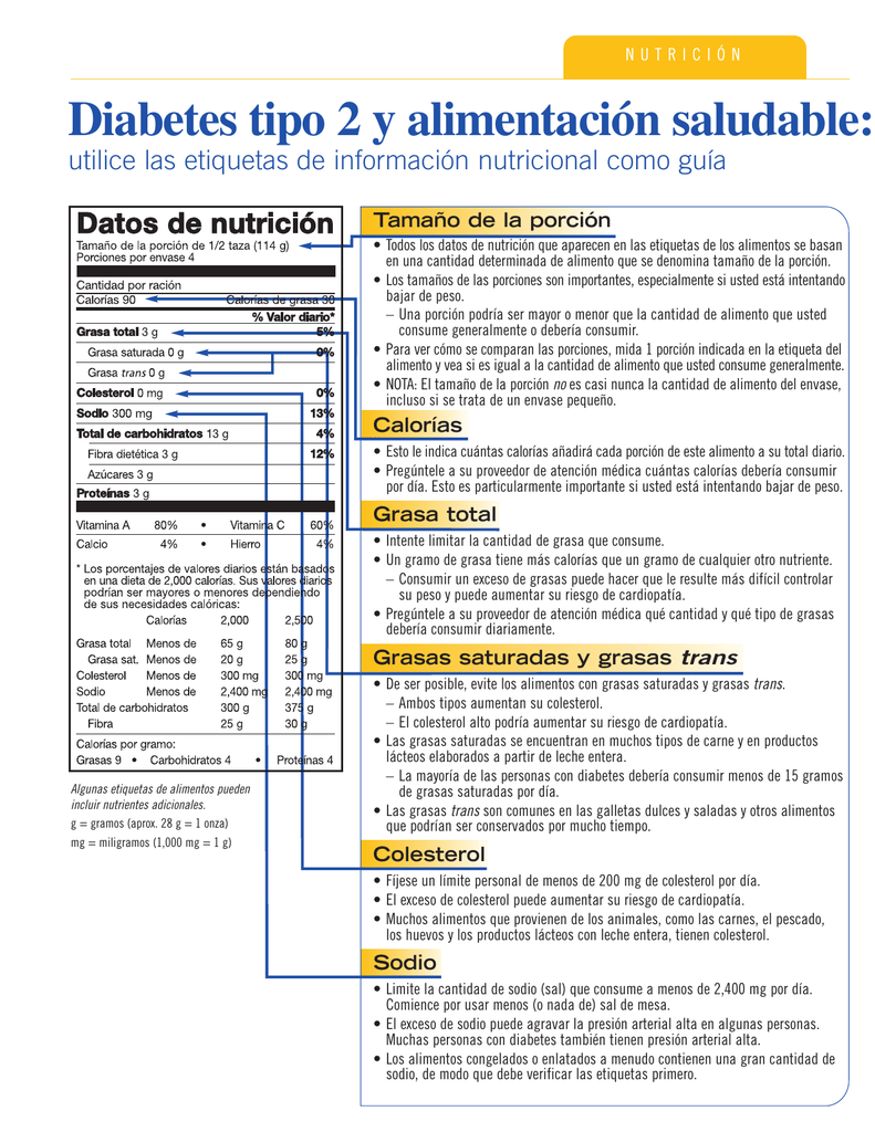 diabetes información nutricional