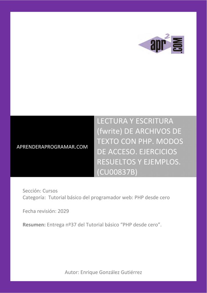 CU00837B Ejemplos fopen fwrite fclose lectura escritura ficheros