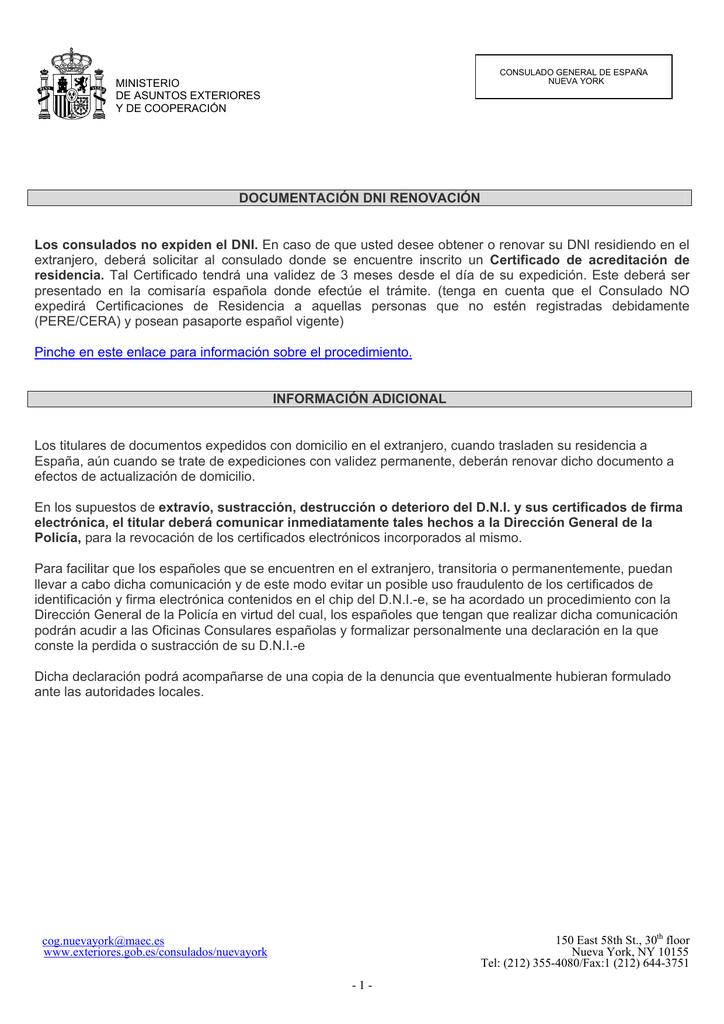 DNI renovación - Ministerio de Asuntos Exteriores y de Cooperación