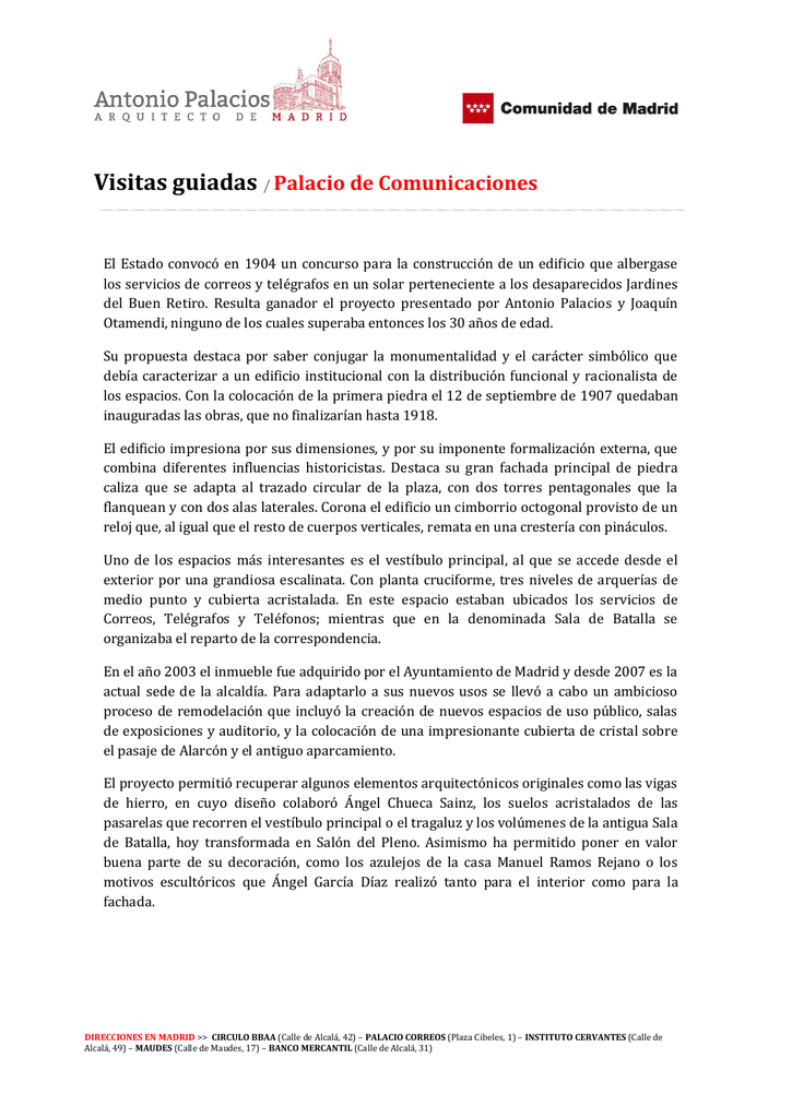Visitas Guiadas Palacio De Comunicaciones