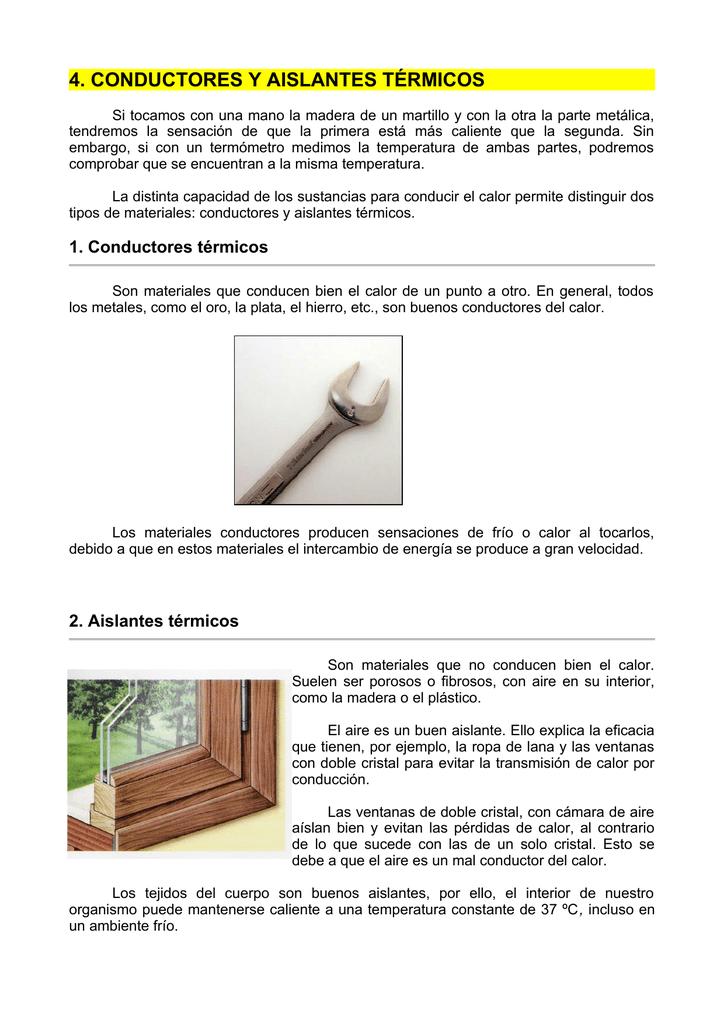 4 conductores y aislantes t rmicos - Materiales aislantes termicos ...