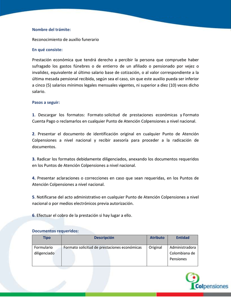 formato de solicitud de prestaciones economicas colpensiones