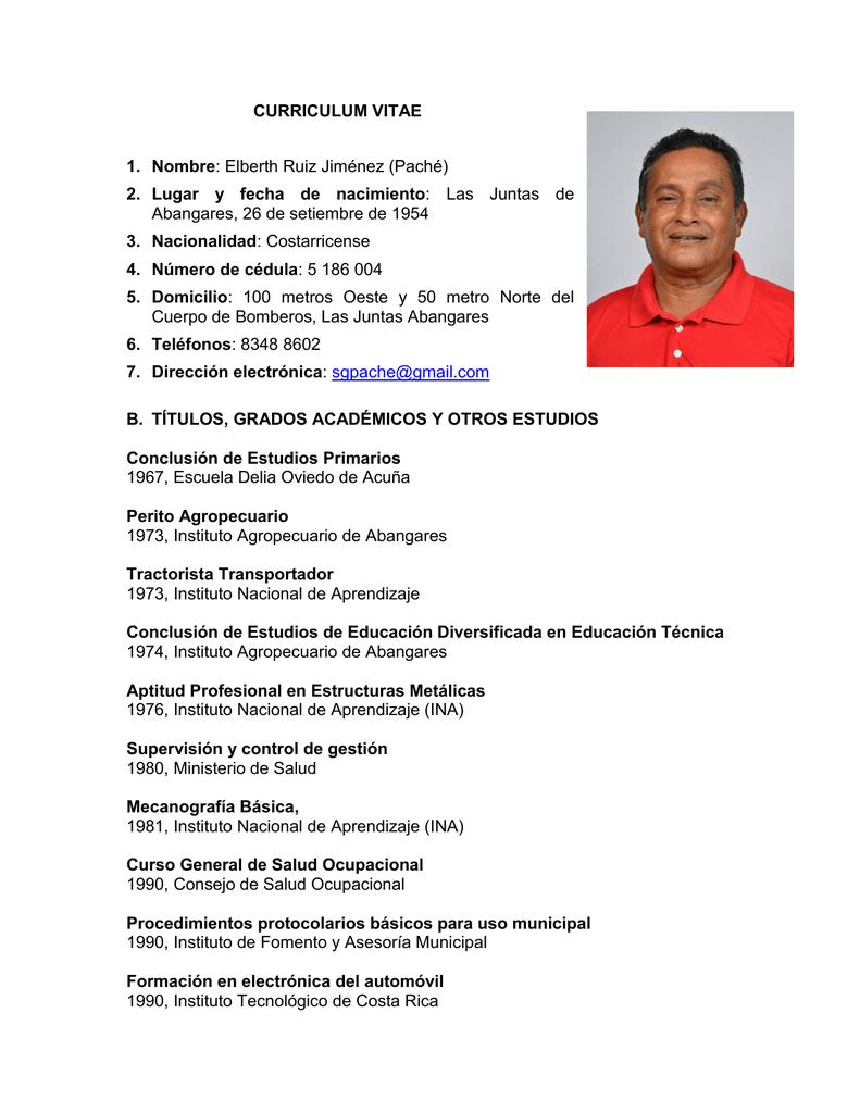 Curriculum Vitae 1 Nombre Elberth Ruiz Jimenez Pache 2