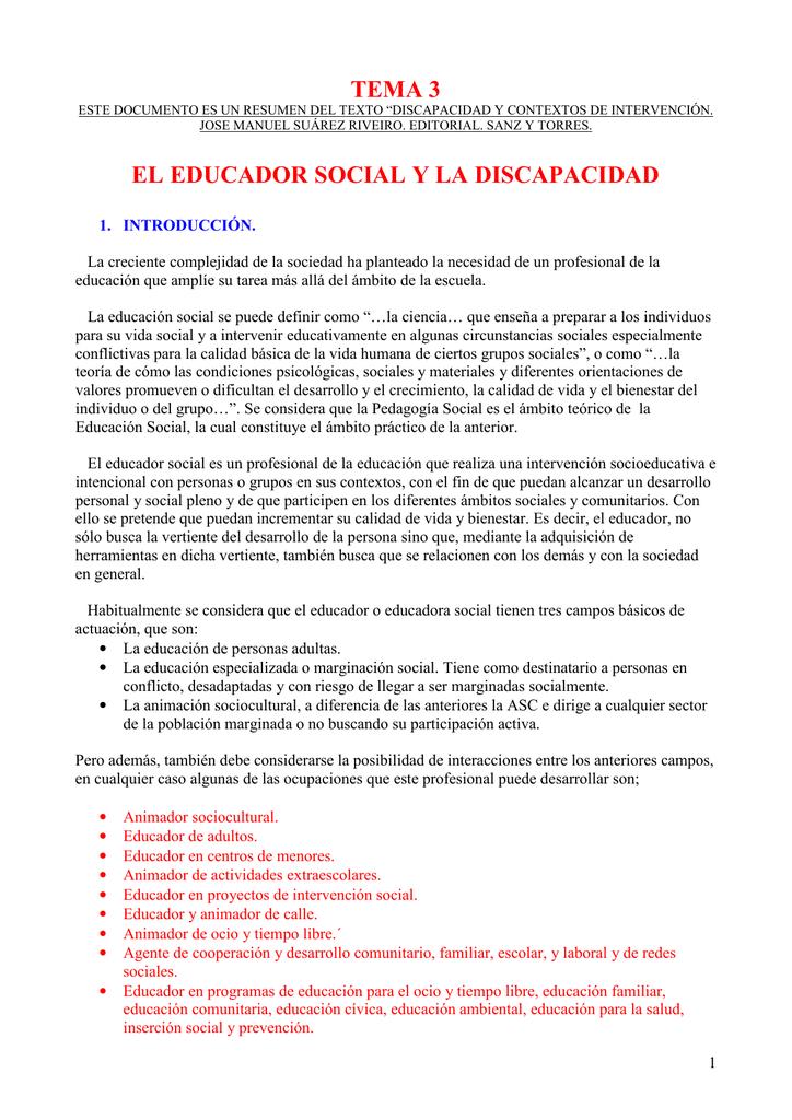 Tema 3 El Educador Social Y La Discapacidad
