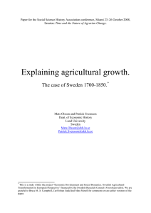 Agricultural production in southern Sweden 1700