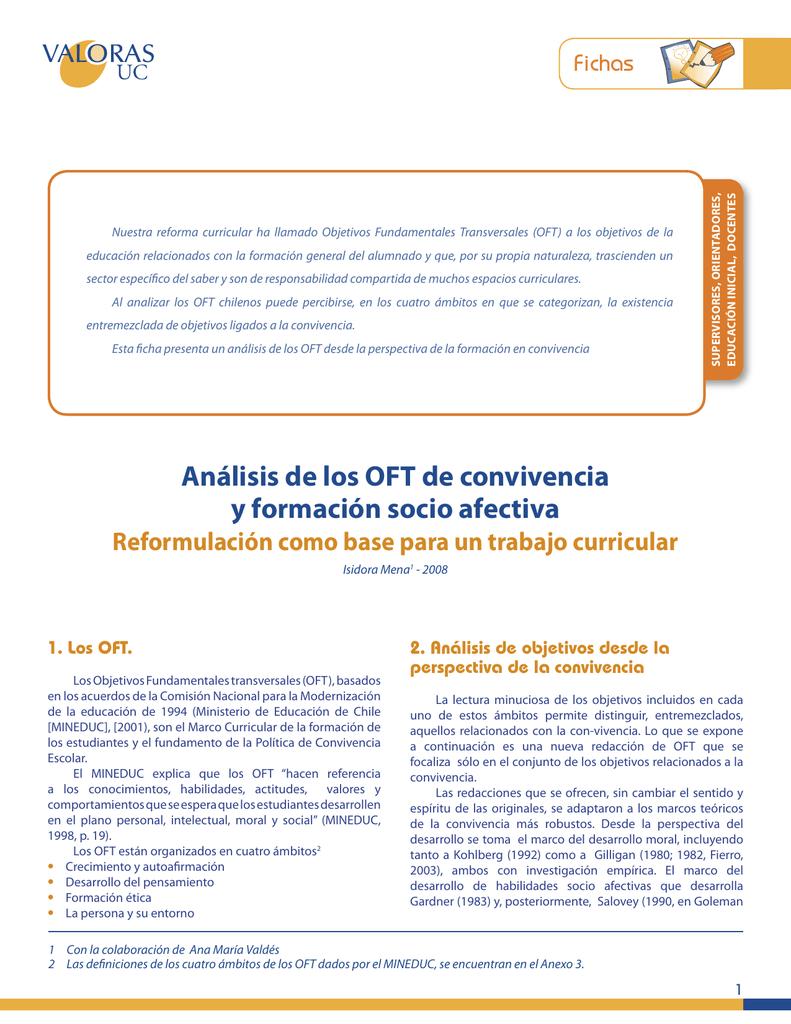 Análisis de los OFT de convivencia y formación socio afectiva