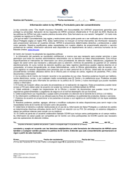 HIPAA Information and Consent Form