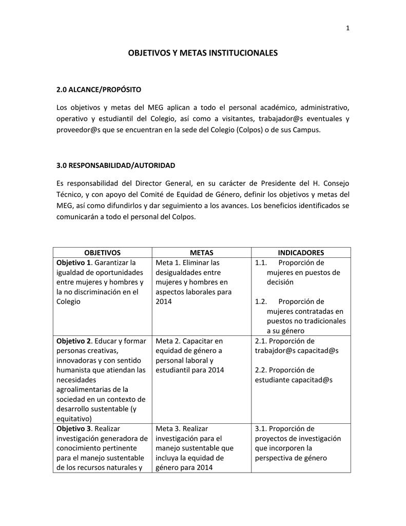 OBJETIVOS Y METAS INSTITUCIONALES