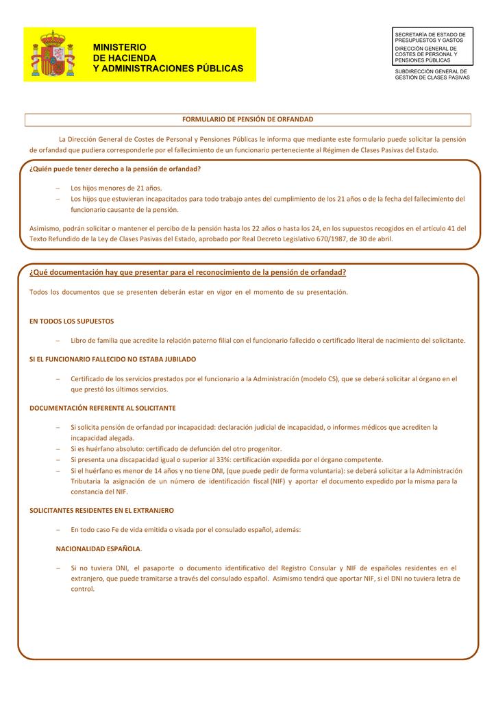 Solicitud de pensión de orfandad - Clases Pasivas