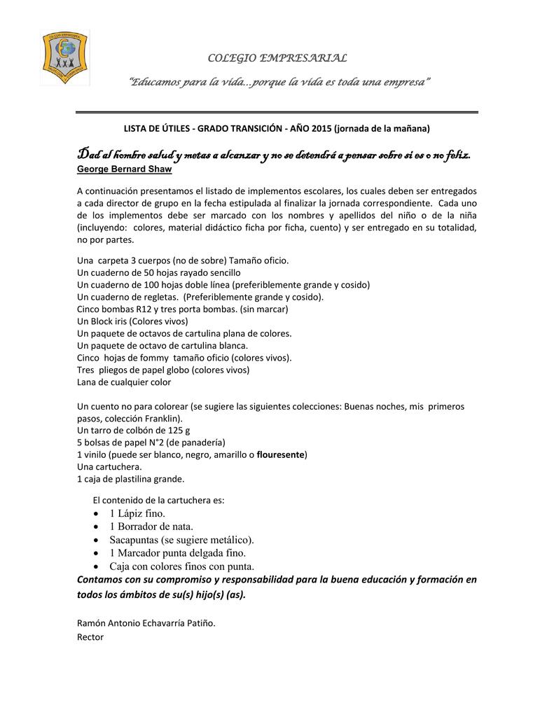 Listado De útiles Escolares 2015