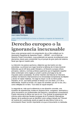 Derecho europeo o la ignorancia inexcusable