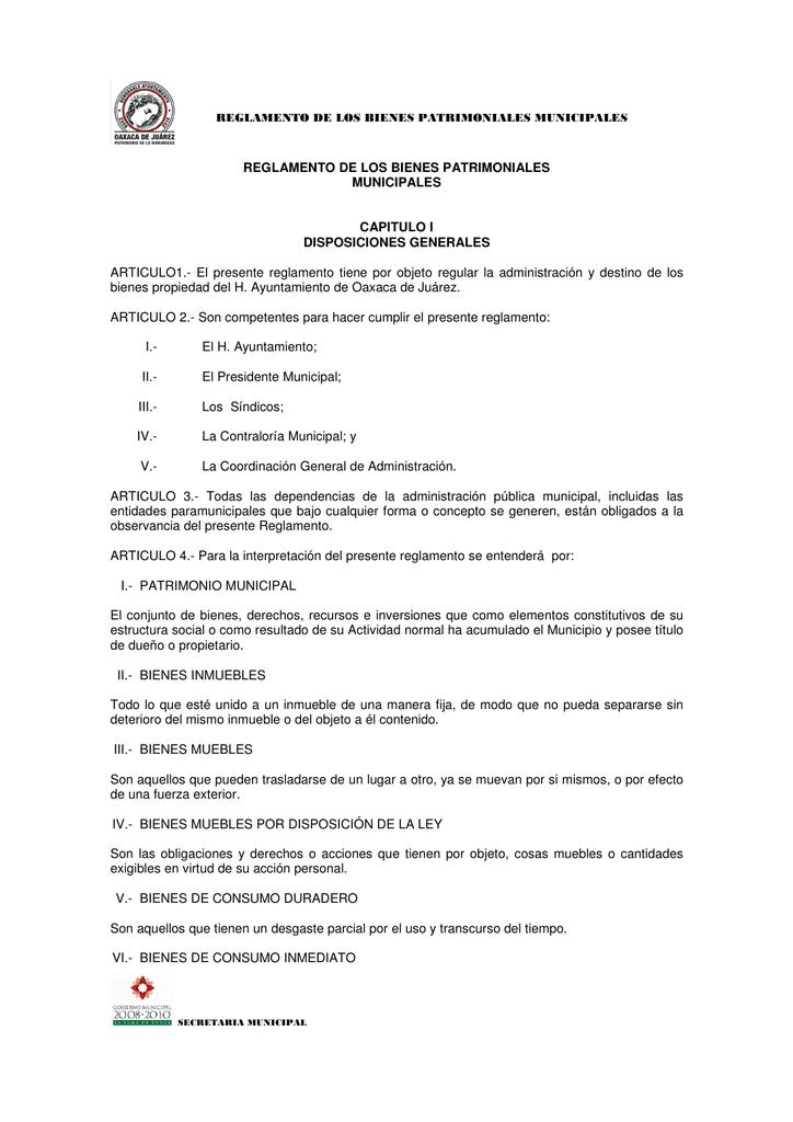 Reglamento De Los Bienes Patrimoniales Municipales
