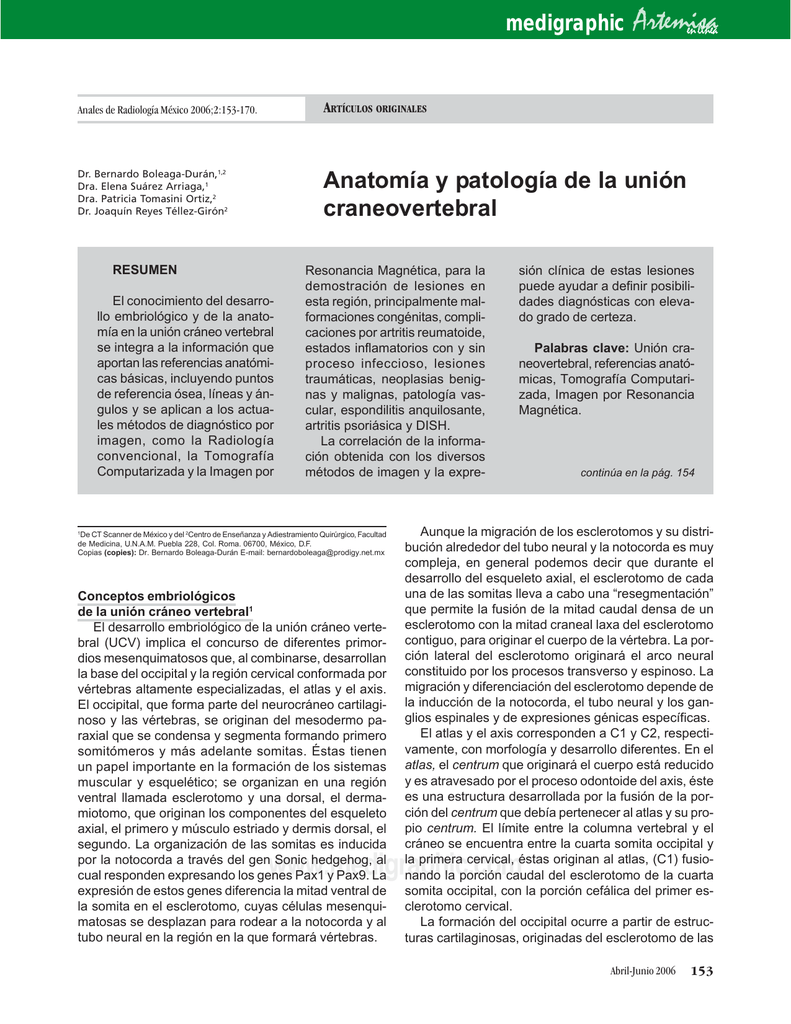 Anatomía y patología de la unión craneovertebral