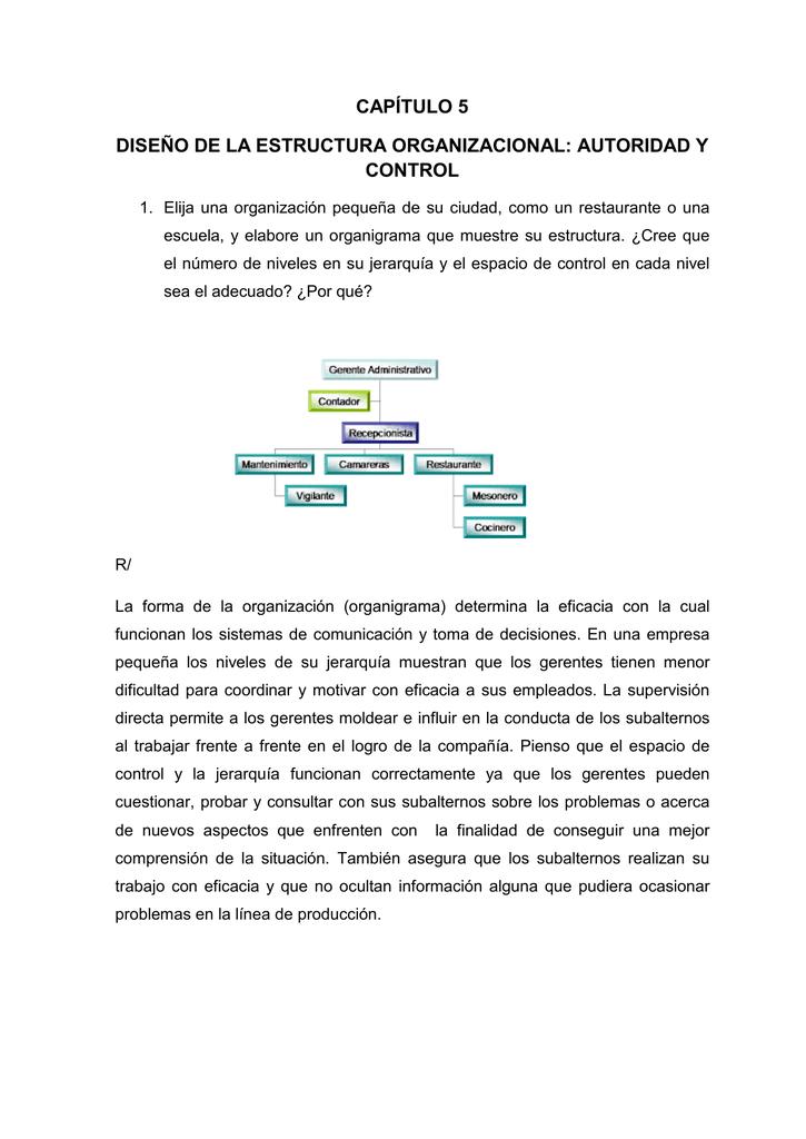 Capítulo 5 Diseño De La Estructura Organizacional