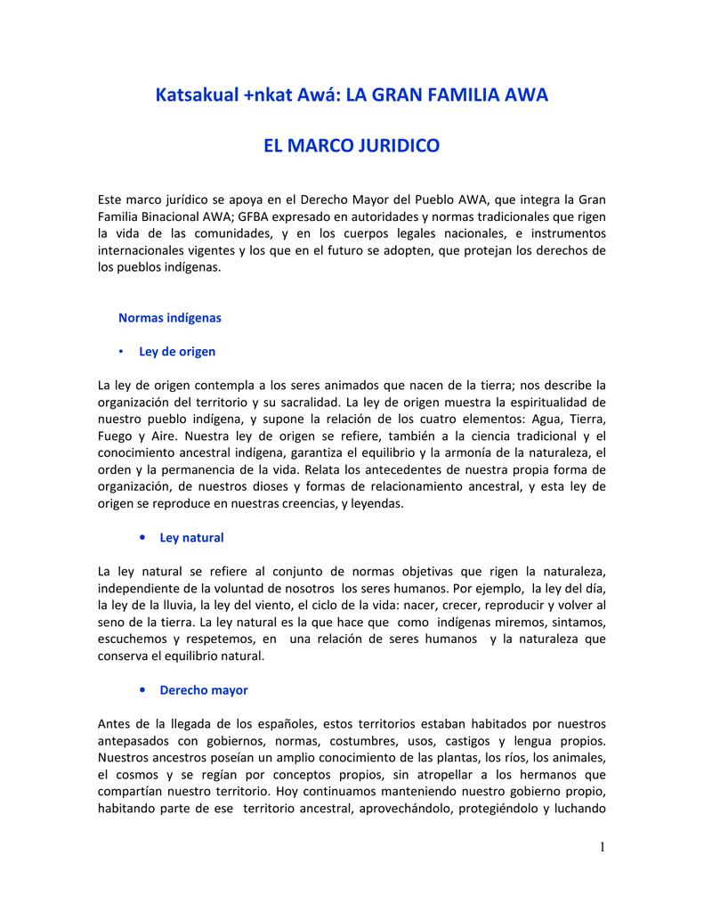 Katsakual +nkat Awá: LA GRAN FAMILIA AWA EL MARCO JURIDICO