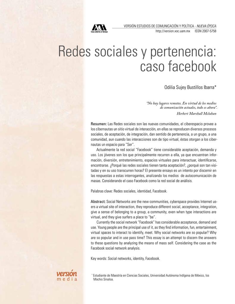 redes sociales y pertenencia: caso facebook - Revista Versión