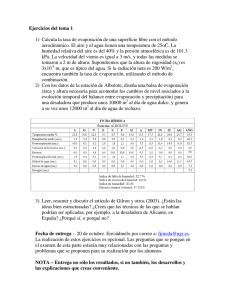 0d18c7a9a1 Ejercicios del tema 1 1) Calcula la tasa de evaporación de una