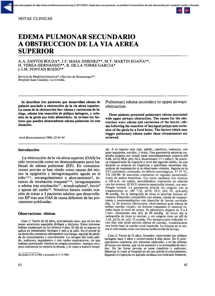 Edema pulmonar bilateral severo