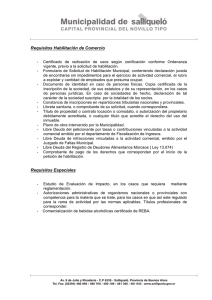 Requisitos Habilitación de Comercio Requisitos Especiales