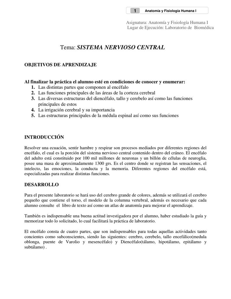Tema: SISTEMA NERVIOSO CENTRAL