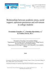 Relationships between academic stress, social support, optimism