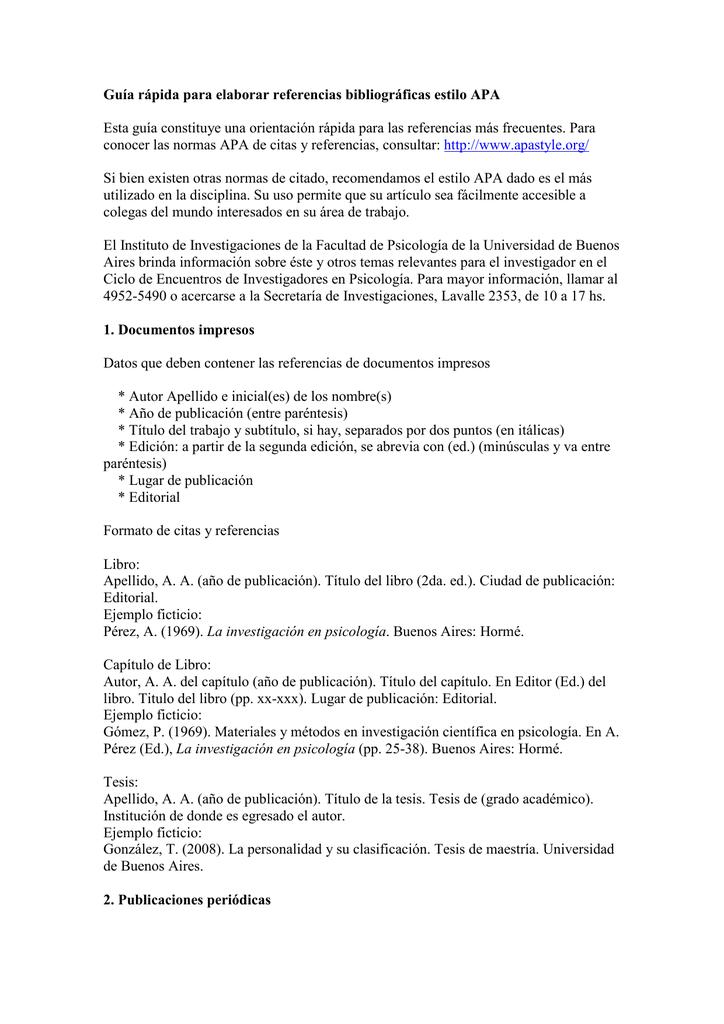 Guía Rápida Para Elaborar Referencias Bibliográficas Estilo Apa