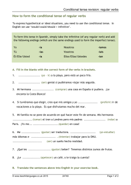 regular verbs How to form the conditional tense of regular verbs