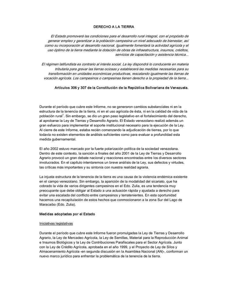 74f2bdd97 DERECHO A LA TIERRA El Estado promoverá las condiciones para el desarrollo  rural integral, con el propósito de generar empleo y garantizar a la  población ...