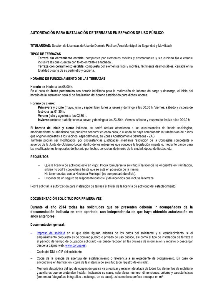 Información Para Las Autorizaciones De Instalación De
