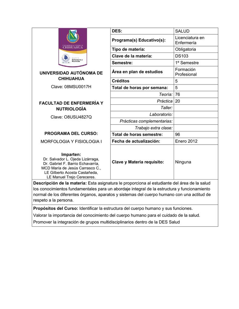 morfologia y fisiologia i - Facultad de Enfermería y Nutriología