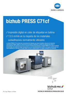 Hoja de datos bizhub PRESS C71cf, PDF