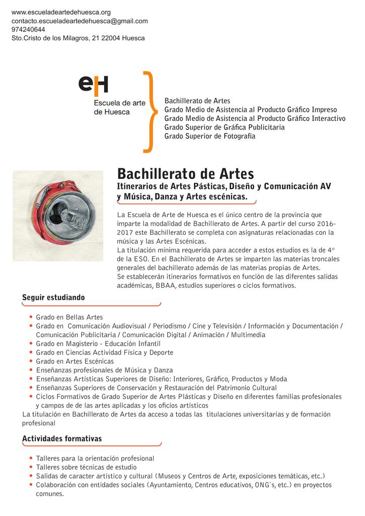 Bachillerato De Artes Escuela De Arte De Huesca