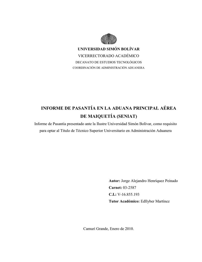 informe de pasantía en la aduana principal aérea de maiquetía