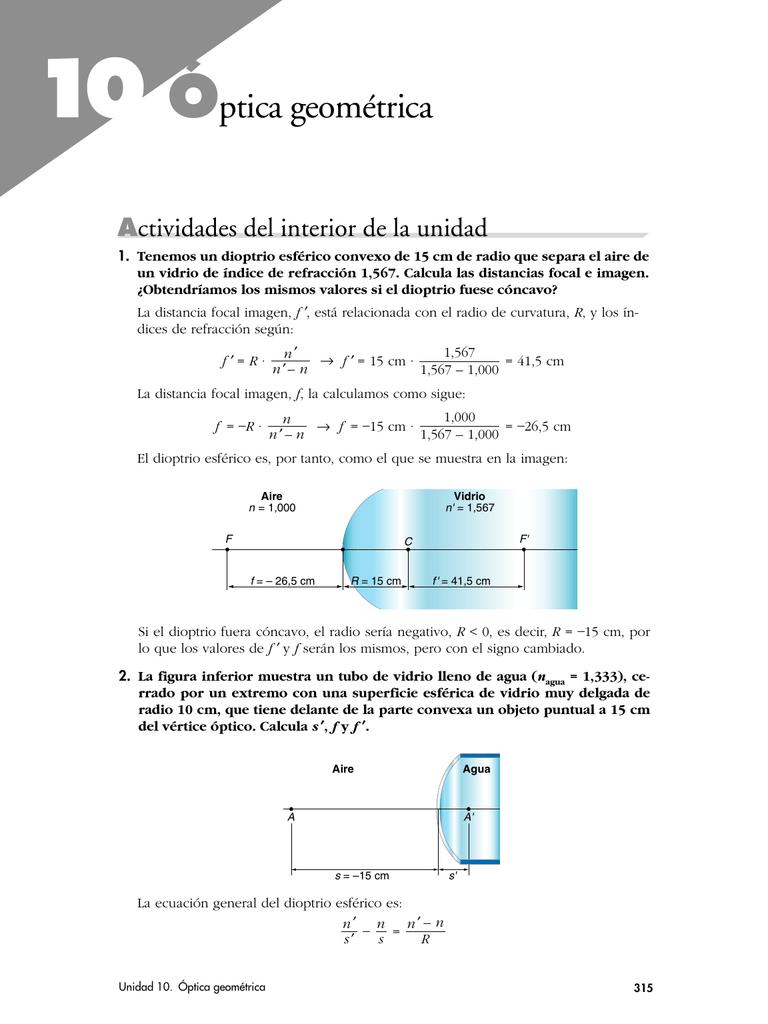 3e602c887 Tenemos un dioptrio esférico convexo de 15 cm de radio que separa el aire  de un vidrio de índice de refracción 1,567.