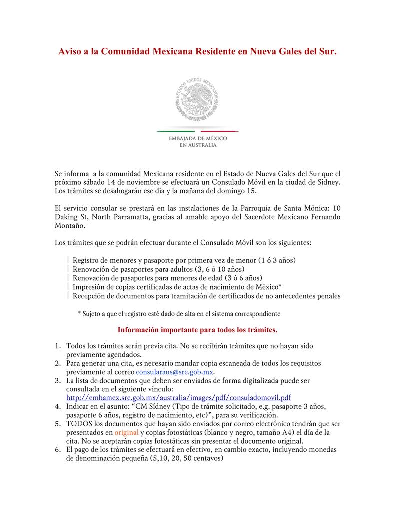 Aviso a la Comunidad Mexicana Residente en Nueva Gales del Sur.