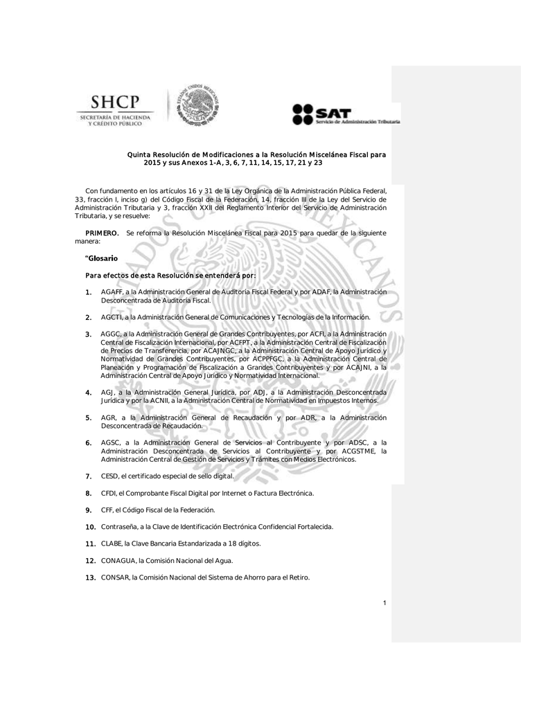 1 Quinta Resolución de Modificaciones a la Resolución