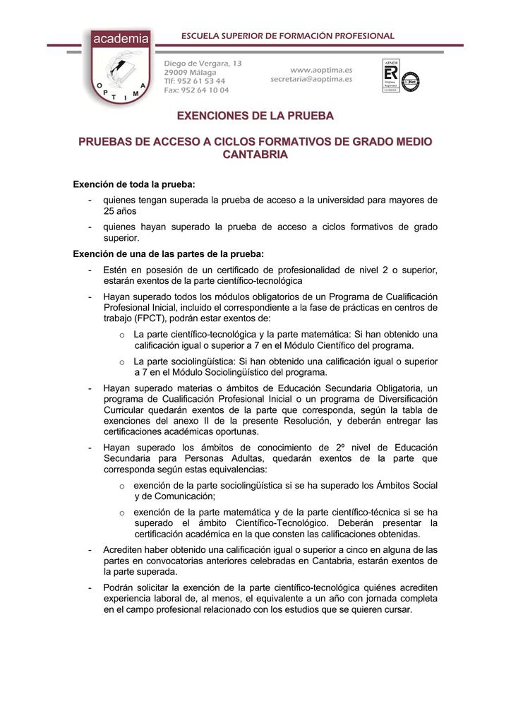 Exenciones De La Prueba Pruebas De Acceso A Ciclos Formativos De