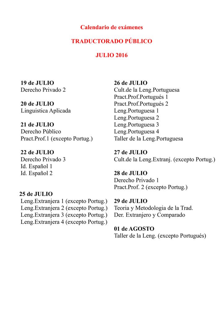 Calendario Examenes Derecho Us.Calendario De Examenes Traductorado Publico Julio 2016