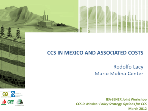 CCS in Mexico and associated costs