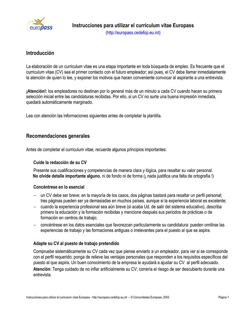Instrucciones para rellenar el curriculum vitae Europass