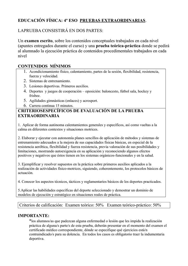 EDUCACIÓN FÍSICA: 4º ESO PRUEBAS EXTRAORDINARIAS
