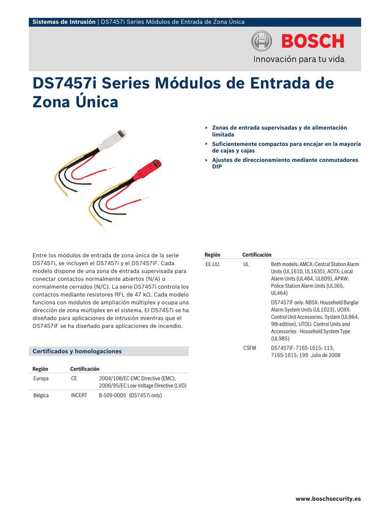 Ds7457i Series Módulos De Entrada De Zona única