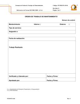 formato orden de servicio de mantenimiento