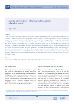 A social perspective of e-learning in the national education system*
