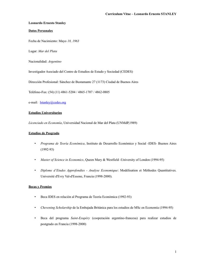 Curriculum Vitae – Leonardo Ernesto STANLEY Leonardo