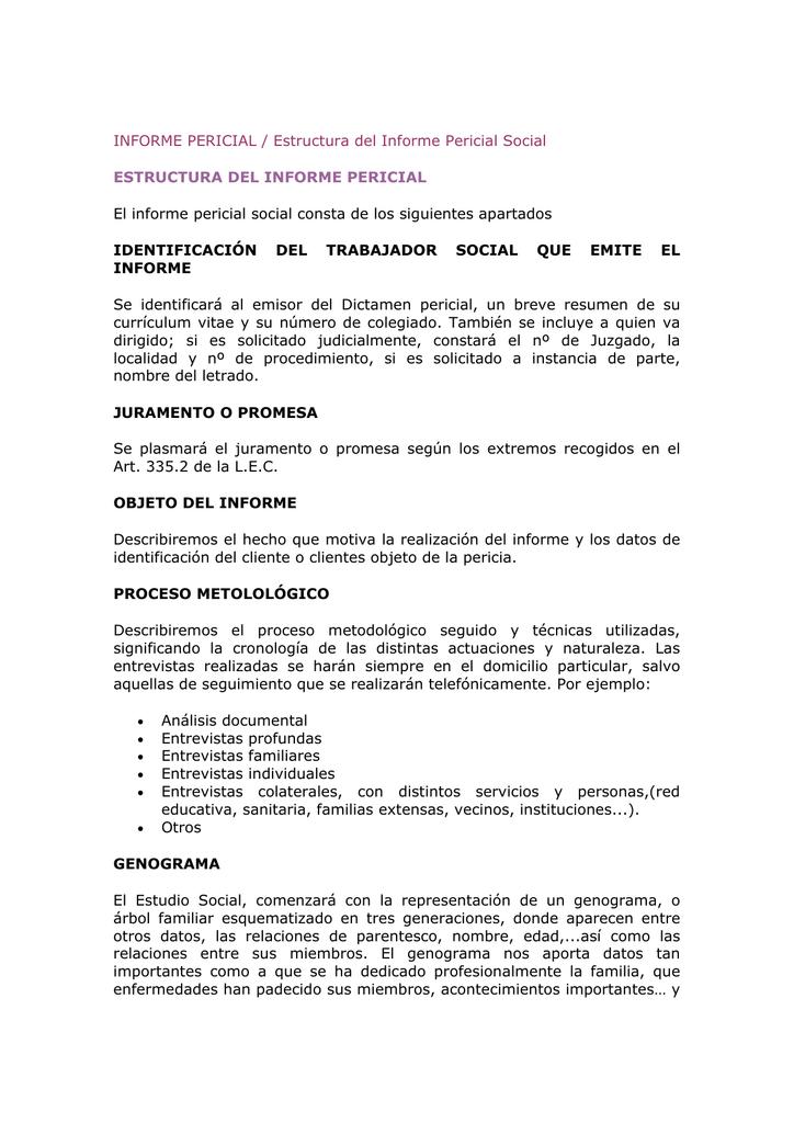 Informe Pericial Estructura Del Informe Pericial Social