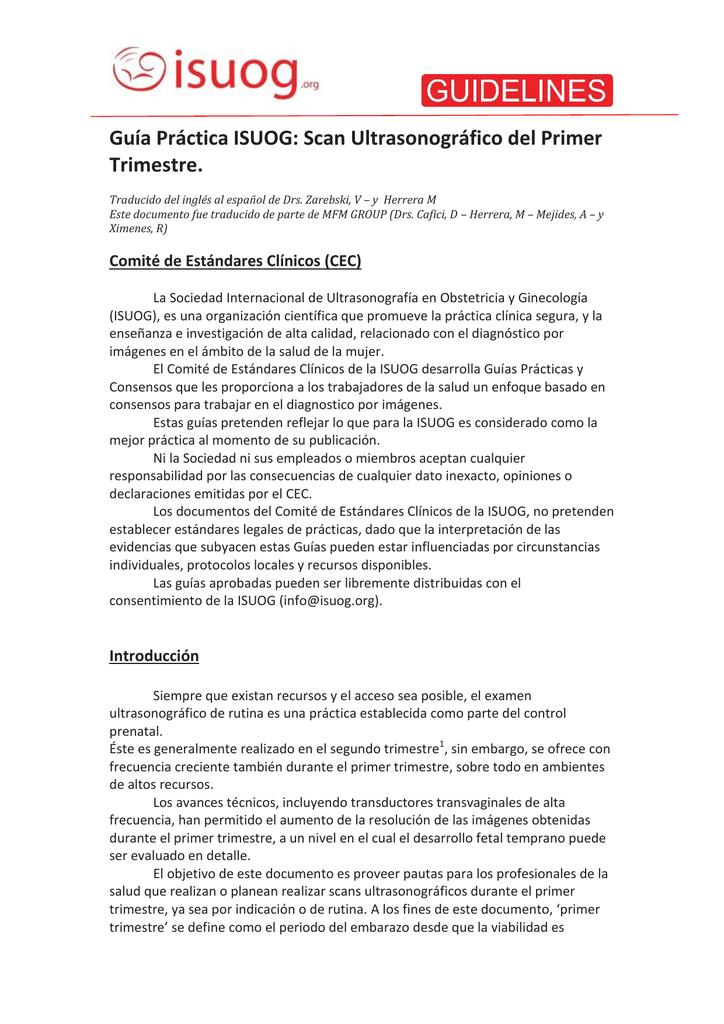 Guía Práctica ISUOG: Scan Ultrasonográfico del Primer Trimestre.