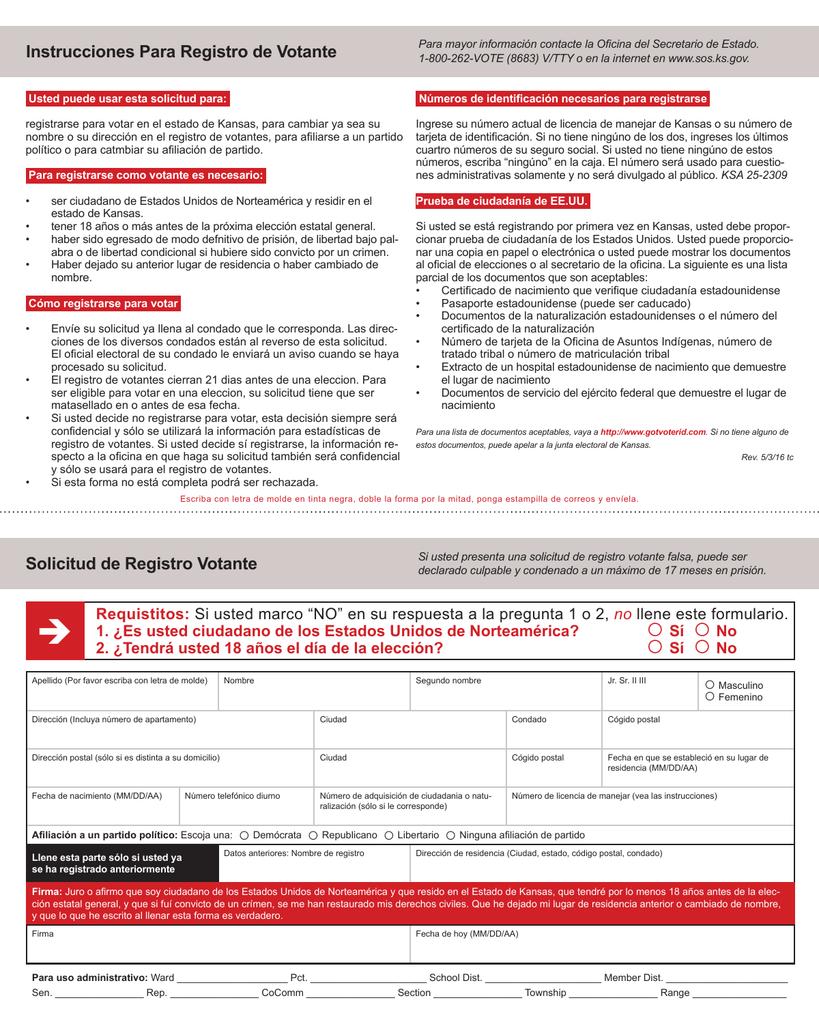 Instrucciones Para Registro de Votante Solicitud de Registro Votante